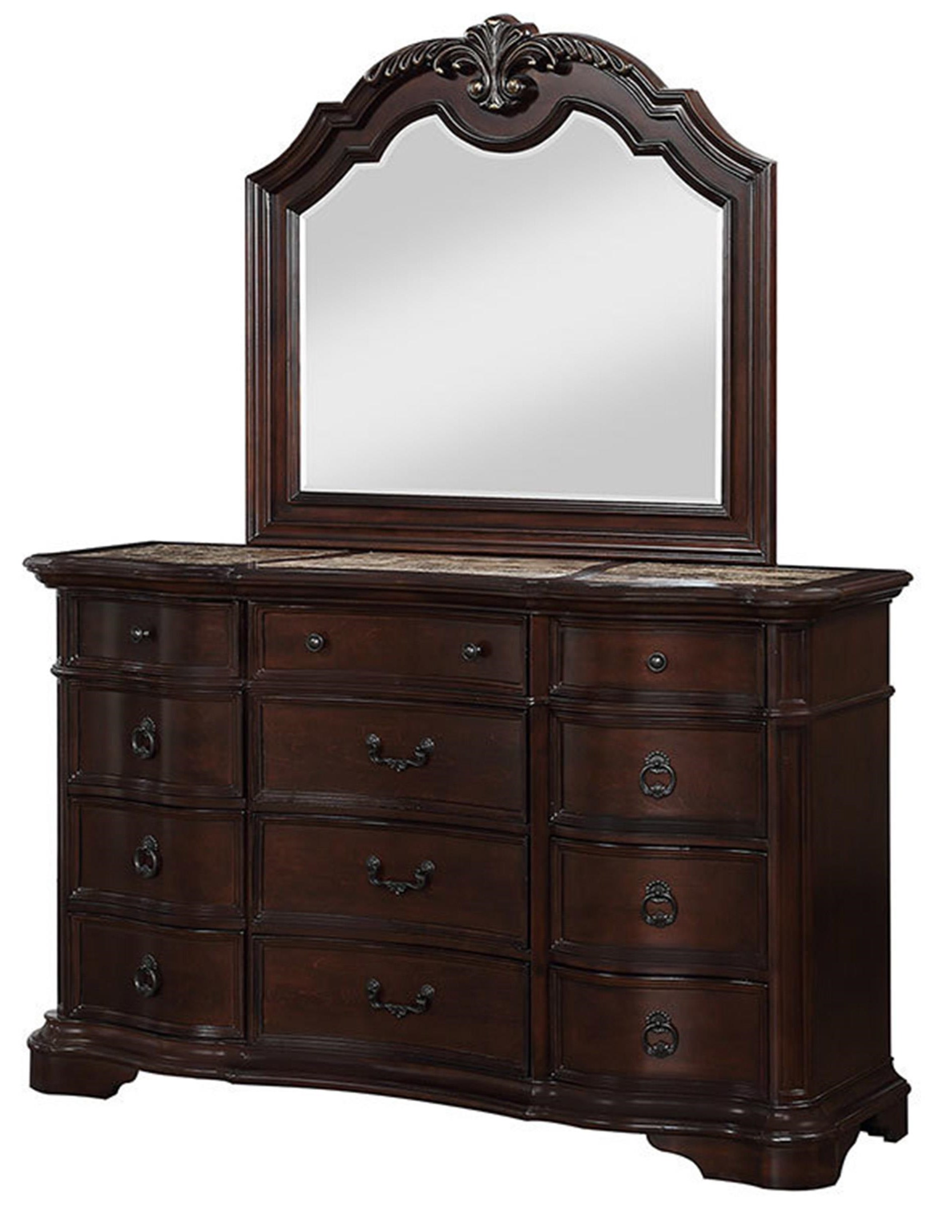 Traditional 12 Drawer Dresser and Mirror