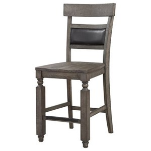 Traditional Counter Chair with Back Cushion