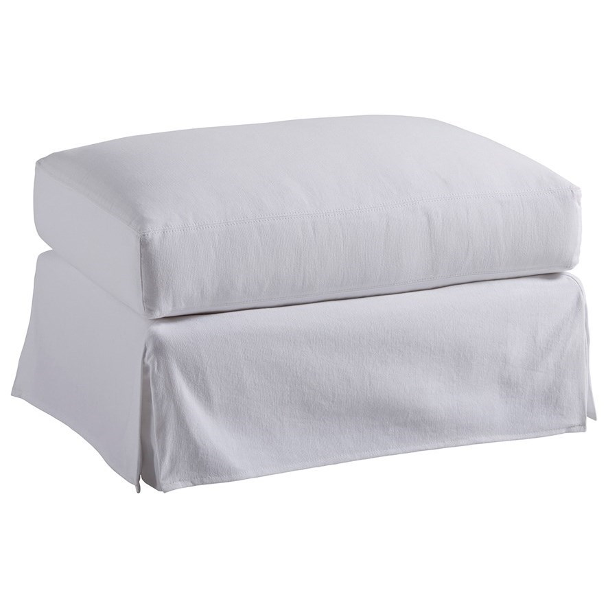 Barclay Butera Upholstery Marina White Slipcover Ottoman by Barclay Butera at Baer's Furniture