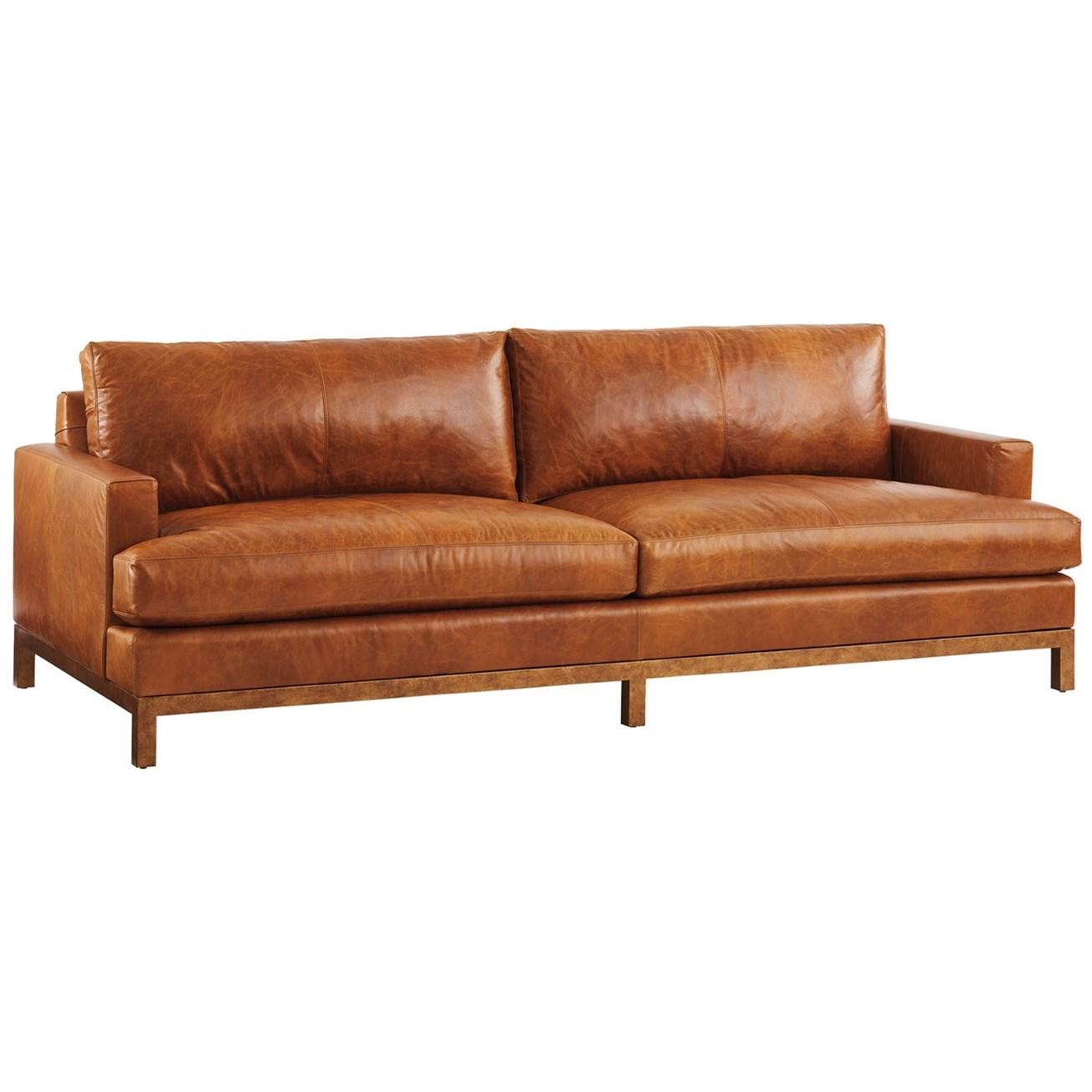 Barclay Butera Upholstery Horizon Sofa w/ Tan Leather & Brass Base  by Barclay Butera at Baer's Furniture