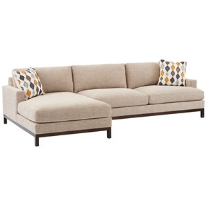 2-Pc Sectional w/ Bronze Base & LAF Chaise