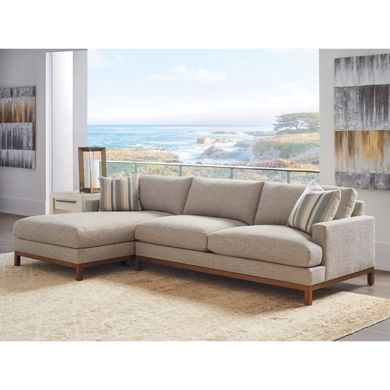 Barclay Butera Upholstery 2-Pc Sectional w/ Brass Base & LAF Chaise by Barclay Butera at Baer's Furniture
