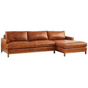 2-Piece Leather Sectional Sofa w/Brass Base