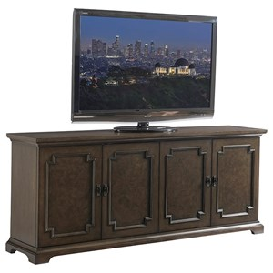 Corbett Media Console with Parquet Ash Burl Doors and Wire Management