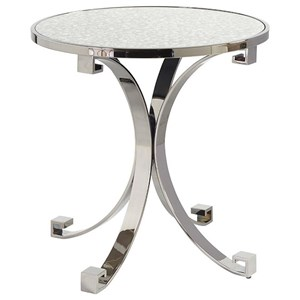 Grace Metal Lamp Table with Antiqued Mirrored Glass Top