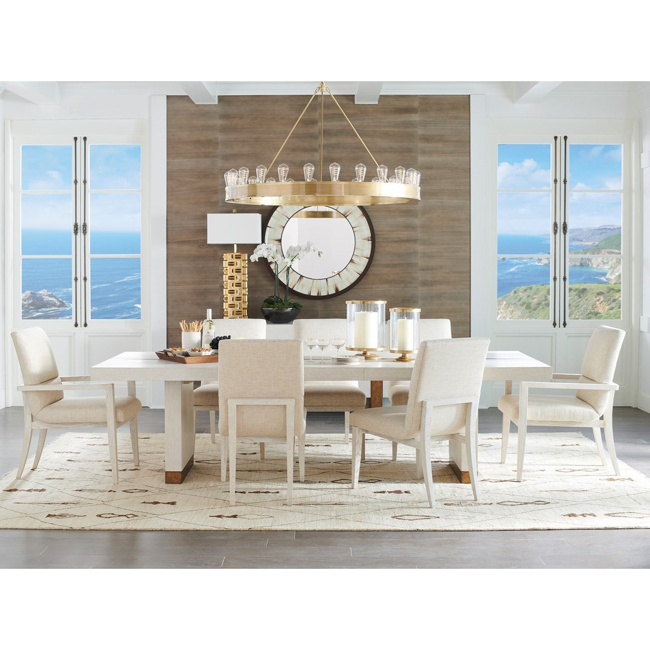 Carmel 9-Piece Dining Set with Upholstered Chairs by Barclay Butera at Baer's Furniture