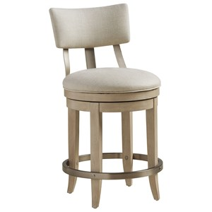 Cliffside Swivel Upholstered Counter Stool in Linen Fabric