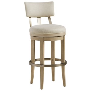 Cliffside Swivel Upholstered Bar Stool in Linen Fabric