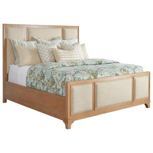 Crystal Cove King Size Upholstered Panel Bed in Ventura Ivory Fabric