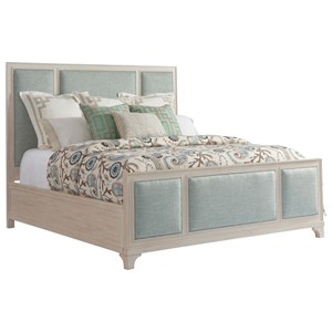 Crystal Cove Queen Size Upholstered Panel Bed in Custom Fabric