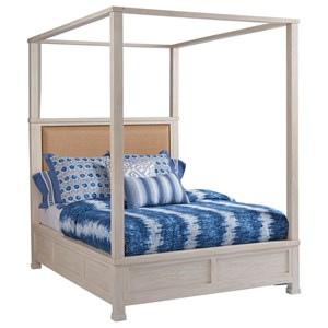 Shorecliff King Size Canopy Bed with Headboard Upholstered