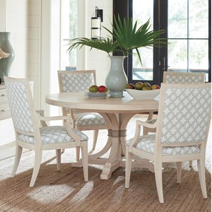 Five Piece Dining Set with Magnolia Round Table and Eastbluff Custom Fabric Chairs