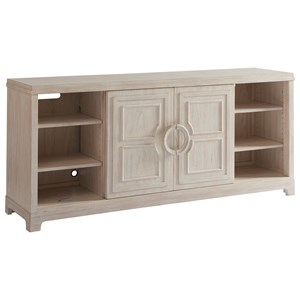 Leeward Sliding Door Media Console with Adjustable Shelving and Wire Management