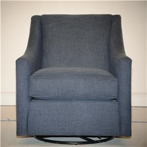 Transitional Upholstered Swivel Chair with Track Arms