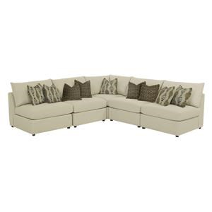 Beckham 5 pc L-Shaped Sectional in Straw with Mushroom and Geo Graphite Accent Pillows
