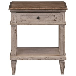 Rustic Bedside Table with Outlet and USB Ports
