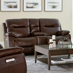Casual Power Reclining Loveseat with Power Headrest and Console