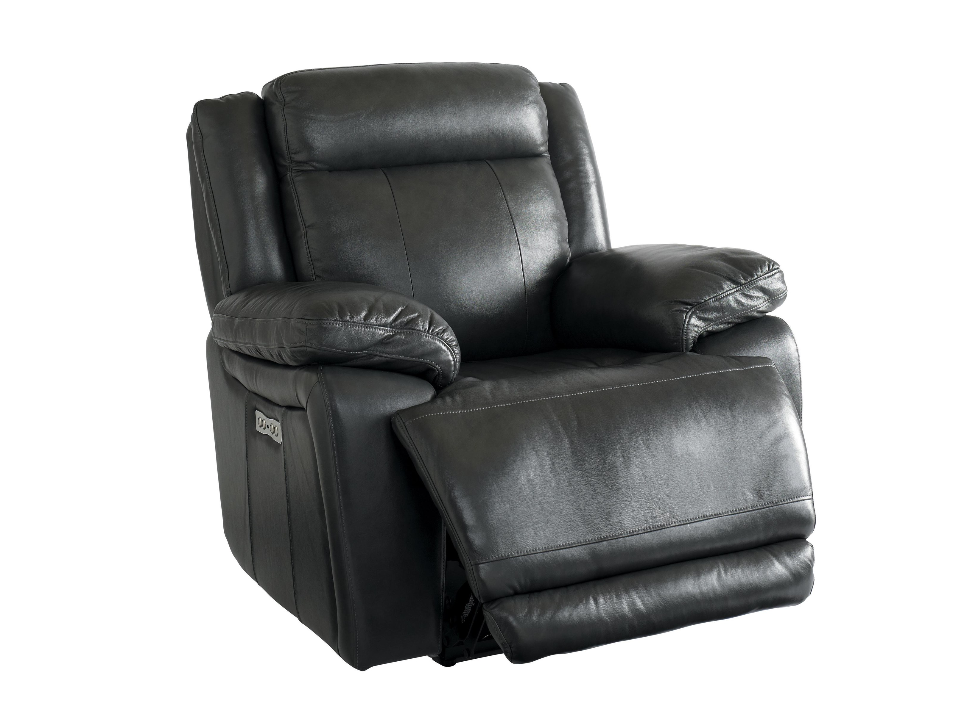 Graphite Leather Power Recliner with Power Head & Footrest