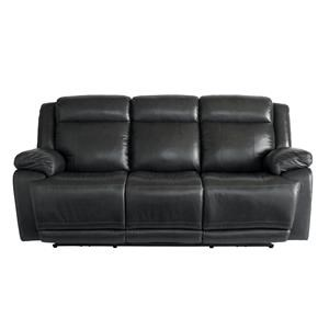Graphite Leather Power Reclining Sofa with Power Head & Footrests
