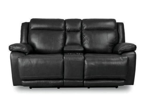 Graphite Leather Power Reclining Console Loveseat with Power Head & Footrests