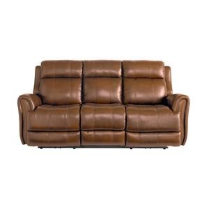Bassett Marquee Leather Pwr Reclining Sofa w/Pwr Headrest