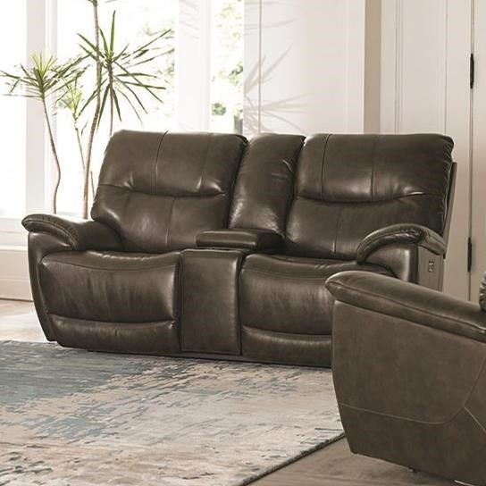 Brookville Console Power Reclining Love Seat by Bassett at Furniture Superstore - Rochester, MN