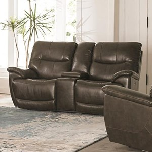 Casual Power Reclining Console Love Seat with Power Headrest and USB Port