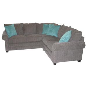 Casual 2-Piece Sectional Sofa with Rolled Arms and Loose Pillow Back