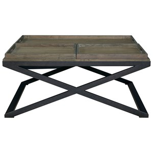 Transitional Cocktail Table with Removable Trays