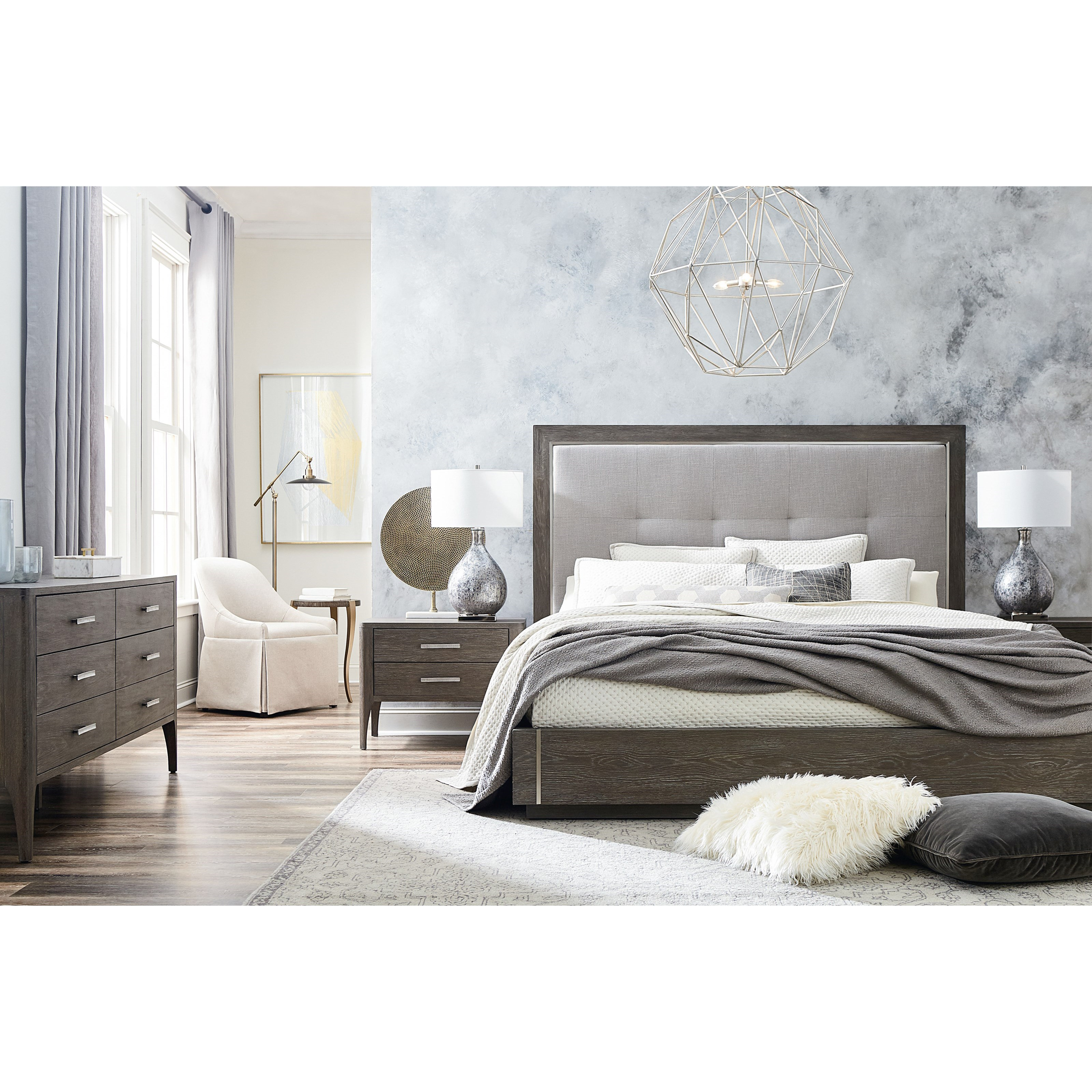 Modern - Astor and Rivoli Queen Bedroom Group by Bassett at Esprit Decor Home Furnishings