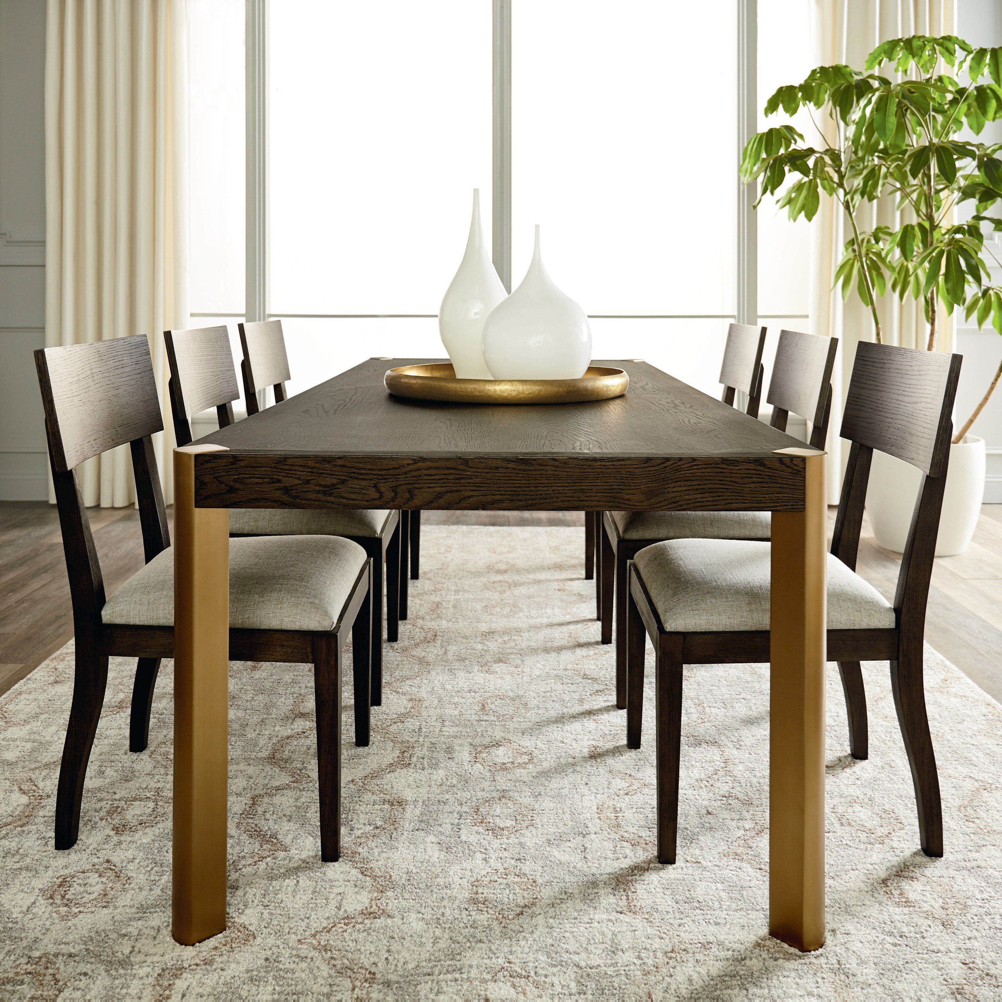 Modern - Astor and Rivoli 7-Piece Table and Chair Set by Bassett at Becker Furniture