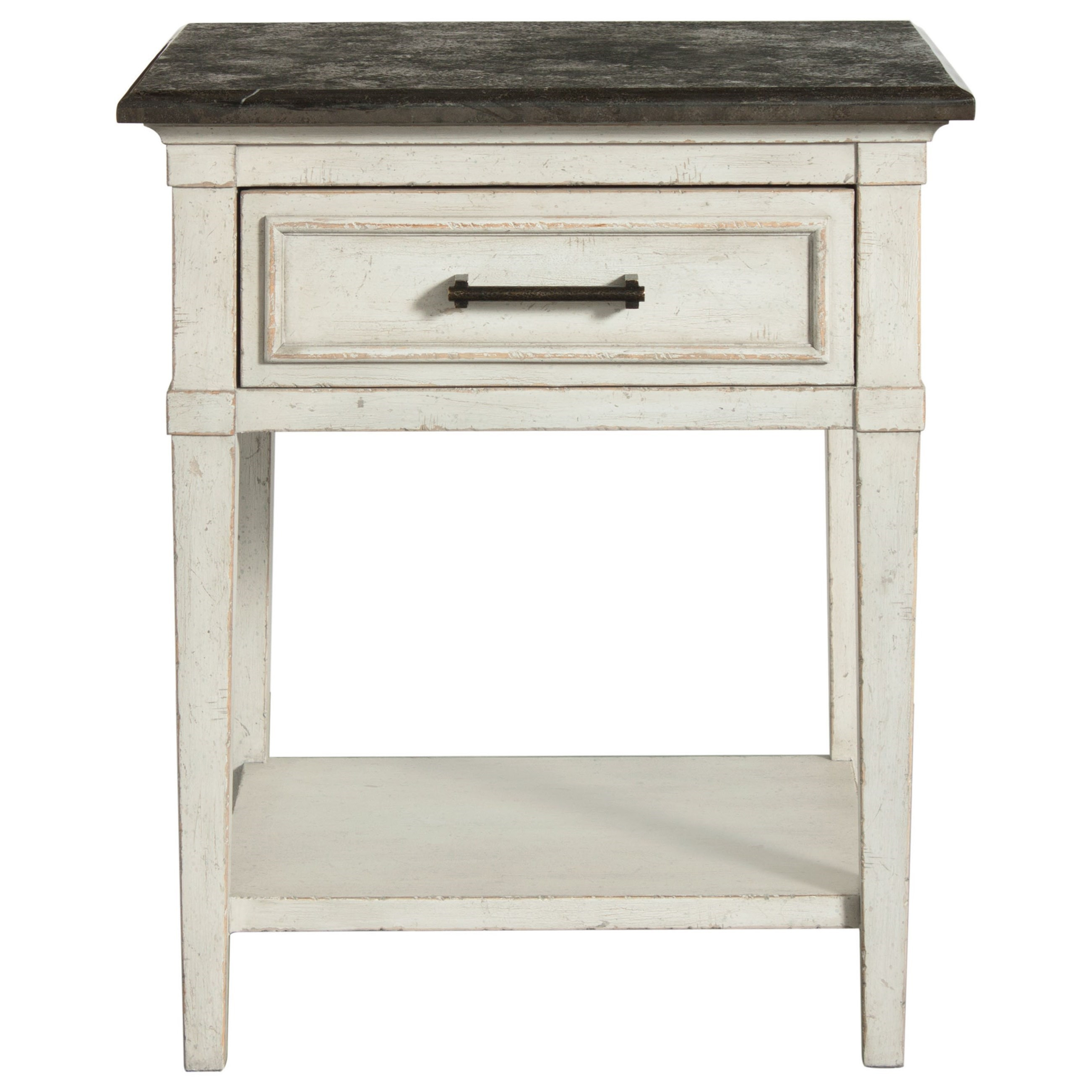 Bella Stone Top Bedside Table by Bassett at Johnny Janosik