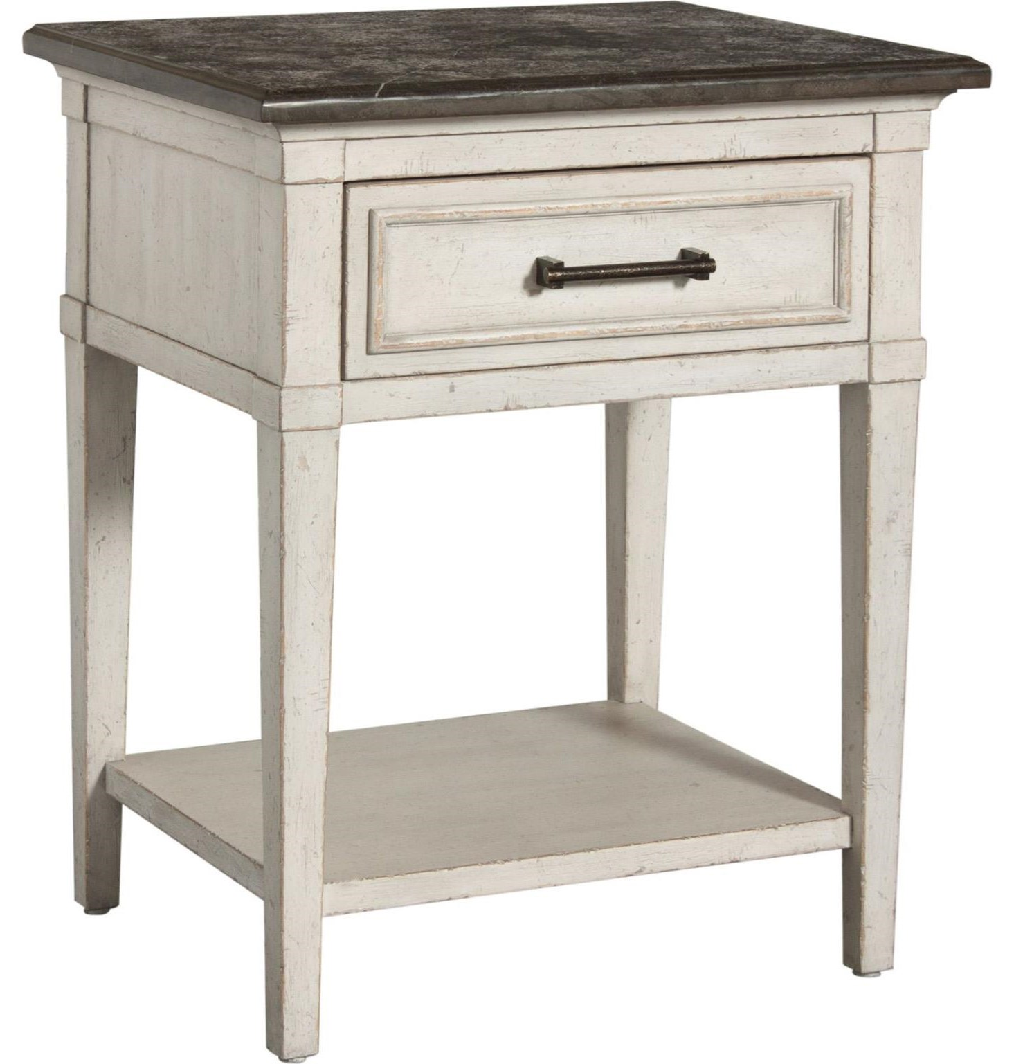 Bella Stone Top Bedside Table by Bassett at Williams & Kay