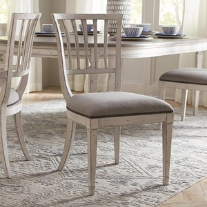 Cottage Upholstered Dining Side Chair with Weathered Finish