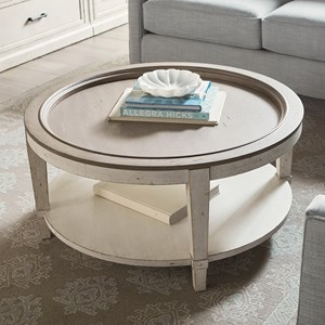 Cottage Round Cocktail Table with Shelf