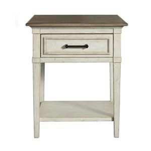 Wood Top Bedside Table