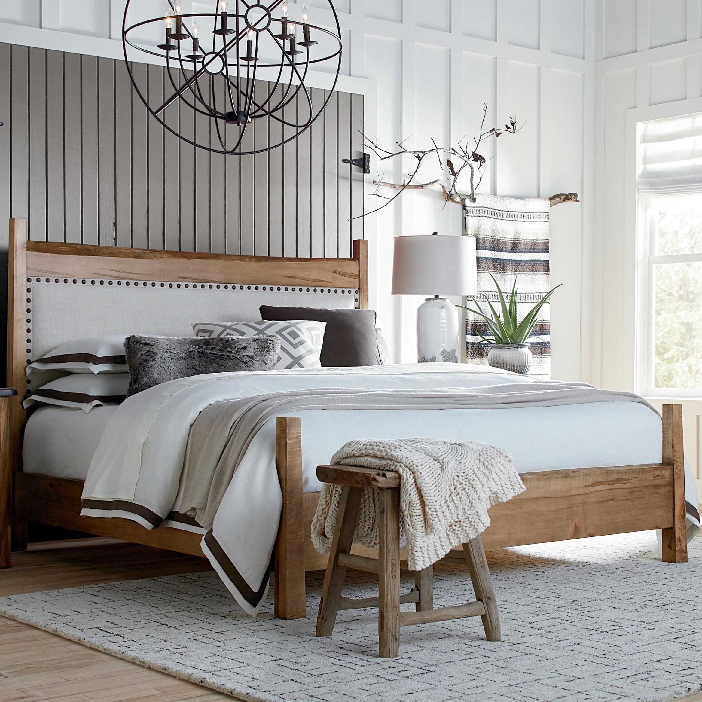 Bench Made Maple Upholstered Queen Panel Bed by Bassett at Bassett of Cool Springs