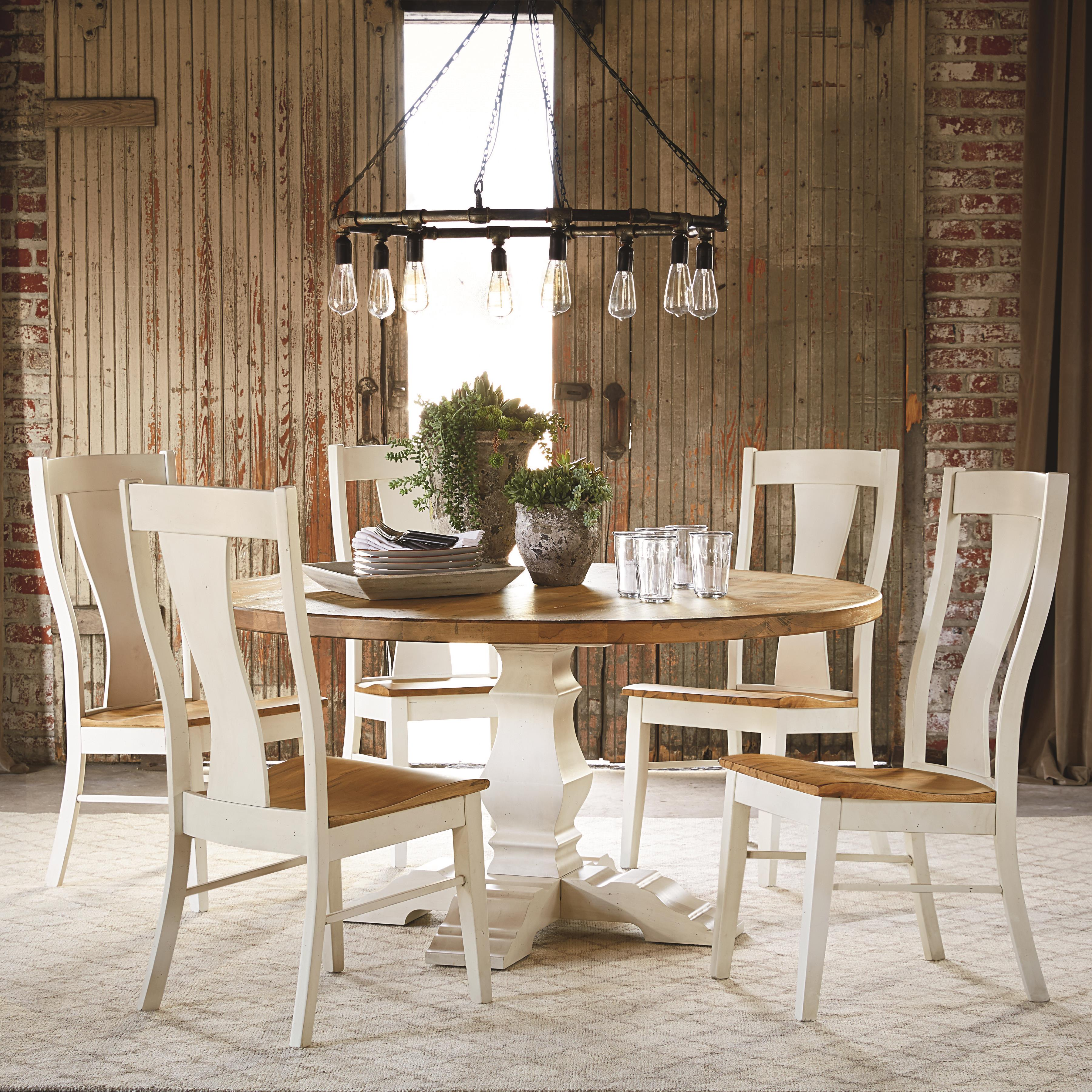 Bench Made Maple Six Person Round Table Set by Bassett at Bassett of Cool Springs