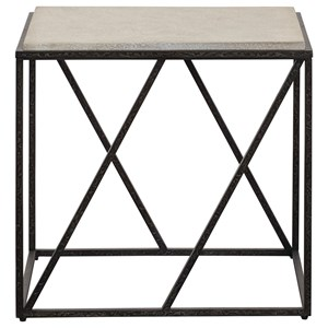 Modern Industrial End Table with Concrete Top