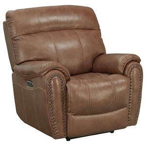 Leather Match Wallsaver Power Recliner with Power Headrest and Lumbar Support