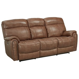 Leather Match Power Motion Sofa with Power Headrests and Lumbar Support