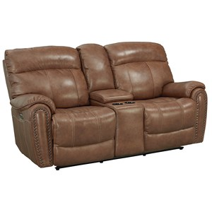 Leather Match Power Motion Loveseat with Power Headrests, Lumbar Support, and Console