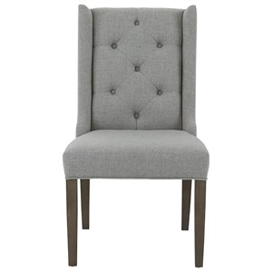 Customizable Wing Back Side Chair with Tufted Back