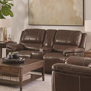 Casual Power Reclining Console Loveseat with Adjustable Headrests and USB Ports