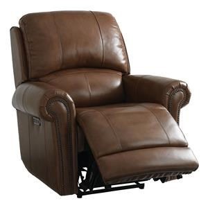 Olsen Power Leather Recliner W/ Head, Foot, & Lumbar