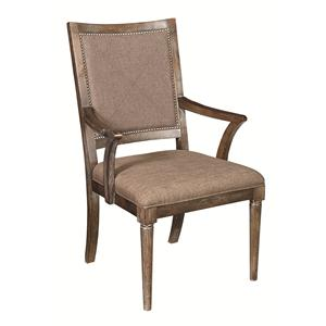 Dining Arm Chair with Upholstered Seat and Back and Nailhead Trim