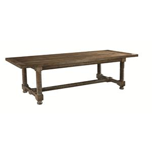 Rectangular Wooden Dining Table with Turned Legs and Trestle Base