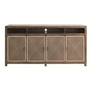 Server with 4 Leather Doors and 2 Adjustable Wood Shelves and 1 Tray Drawer
