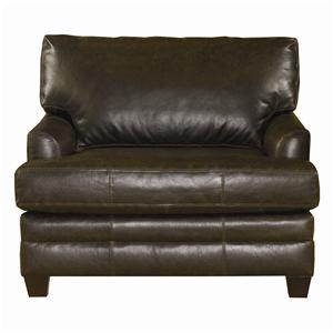 Upholstered Leather Chair and a Half