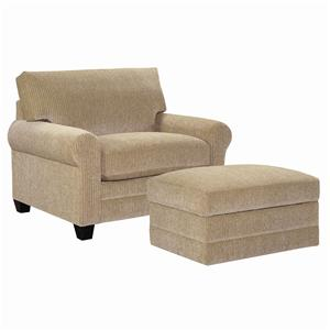 Upholstered Stationary Chair and a Half and Ottoman